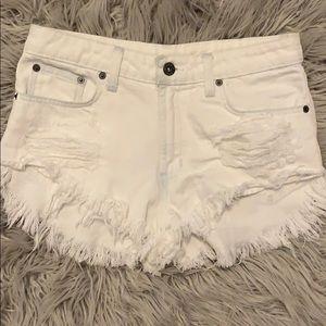 LF white jean shorts